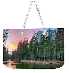 Winter Sunset On Horsetail Falls Weekender Tote Bag