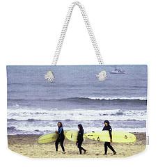 Winter Surfers Weekender Tote Bag by Timothy Bulone