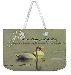 Winter Swans Quote Weekender Tote Bag