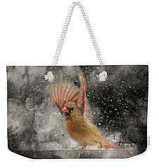 Winter Take Off Songbird Art Weekender Tote Bag by Jai Johnson