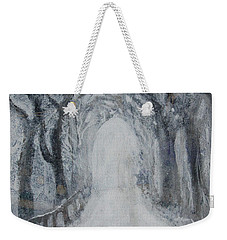 Weekender Tote Bag featuring the painting Winter Tree Tunnel by Robin Maria Pedrero