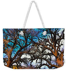 Weekender Tote Bag featuring the photograph Winter Trees At Fort Tejon Lebec California Abstract by Floyd Snyder