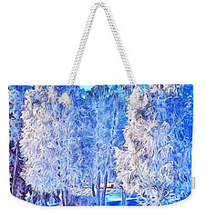Weekender Tote Bag featuring the digital art Winter Trees by Ron Bissett