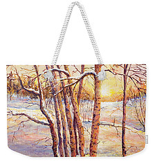 Winter Trees Sunrise Weekender Tote Bag by Lou Ann Bagnall