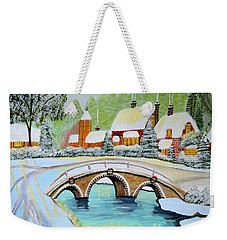 Winter Village Weekender Tote Bag