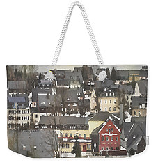 Winter Village With Red House Weekender Tote Bag