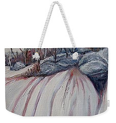 Weekender Tote Bag featuring the painting Winter Waterfall by Marilyn  McNish