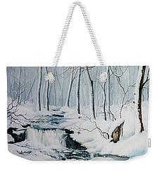 Weekender Tote Bag featuring the painting Winter Whispers by Hanne Lore Koehler