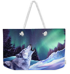 Winter Wolf Weekender Tote Bag