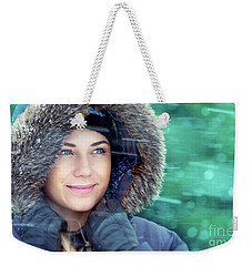 Winter Woman Portrait Weekender Tote Bag