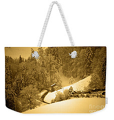 Weekender Tote Bag featuring the photograph Winter Wonderland In Switzerland - Up The Hills by Susanne Van Hulst