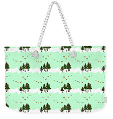 Weekender Tote Bag featuring the mixed media Winter Woodlands Bird Pattern by Christina Rollo