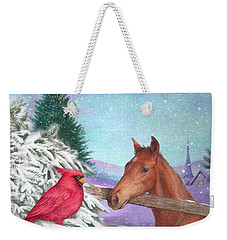 Weekender Tote Bag featuring the painting Winterscape With Horse And Cardinal by Judith Cheng
