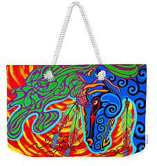 Weekender Tote Bag featuring the painting Winter Spirit by Debbie Chamberlin