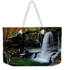 Weekender Tote Bag featuring the photograph Wintery Waterfalls Crop by Barbara Bowen