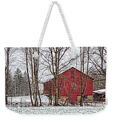 Weekender Tote Bag featuring the photograph Wintry Barn by Skip Tribby