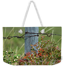 Weekender Tote Bag featuring the photograph Wire Meets by Ann E Robson
