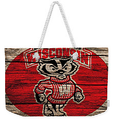 Wisconsin Badgers Barn Door Weekender Tote Bag by Dan Sproul