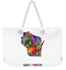 Wisconsin Map Watercolor  Weekender Tote Bag