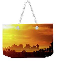 Wisconsin Misty Morning Farm Fields Sunrise Weekender Tote Bag