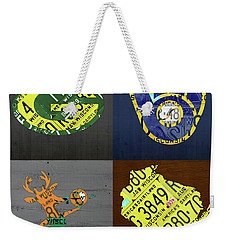 Wisconsin Sports Team License Plate Art Milwaukee Green Bay Plus Map Brewers Bucks Packers Weekender Tote Bag