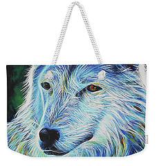 Wise White Wolf Weekender Tote Bag