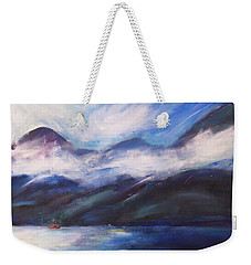 Weekender Tote Bag featuring the painting Wispy Clouds by Yulia Kazansky