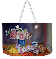With A Splash Of Blue Weekender Tote Bag