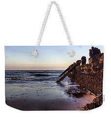 Withernsea Groynes At Sunset Weekender Tote Bag