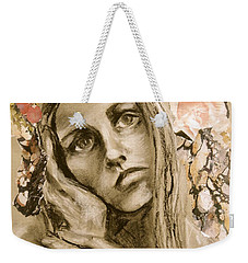 Weekender Tote Bag featuring the drawing Within by Mary Schiros