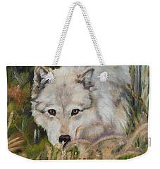Wolf Among Foxtails Weekender Tote Bag by Lori Brackett