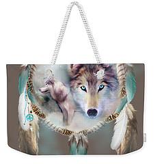 Wolf - Dreams Of Peace Weekender Tote Bag by Carol Cavalaris