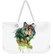 Wolf Face Watercolor Weekender Tote Bag
