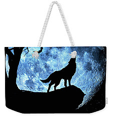 Weekender Tote Bag featuring the photograph Wolf Howling At Full Moon With Bats by Justin Kelefas