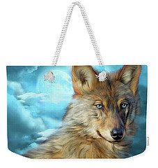 Weekender Tote Bag featuring the mixed media Wolf In Moonlight 2 by Carol Cavalaris