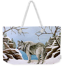 Wolf In Winter Weekender Tote Bag