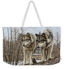 Wolf Pair Weekender Tote Bag by Shari Jardina