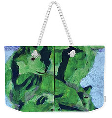 Weekender Tote Bag featuring the painting Green Pack Of Wolves by Donald J Ryker III