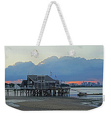 Wollaston Beach Quincy Ma Sunset Boston Skyline Quincy Ma Weekender Tote Bag