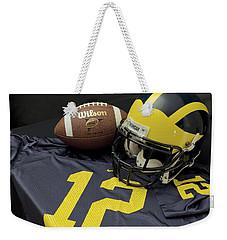 Wolverine Helmet With Football And Jersey Weekender Tote Bag
