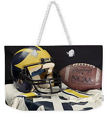 Wolverine Helmet With Jersey And Football Weekender Tote Bag
