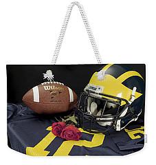 Wolverine Helmet With Roses, Jersey, And Football Weekender Tote Bag