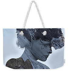 Woman And A Snowy Mountain Weekender Tote Bag