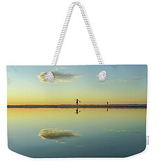 Woman And Cloud Reflected On Beach Lagoon At Sunset Weekender Tote Bag