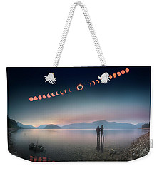 Woman And Girl Standing In Lake Watching Solar Eclipse Weekender Tote Bag