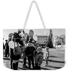 Weekender Tote Bag featuring the photograph Woman Balloon And Boy by John Williams