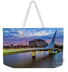 Weekender Tote Bag featuring the photograph Woman Bridge 01 by Bernardo Galmarini