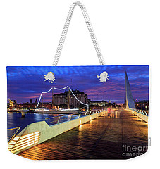 Weekender Tote Bag featuring the photograph Woman Bridge 02 by Bernardo Galmarini