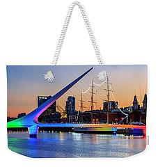 Weekender Tote Bag featuring the photograph Woman Bridge 05 by Bernardo Galmarini