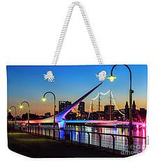 Weekender Tote Bag featuring the photograph Woman Bridge 06 by Bernardo Galmarini